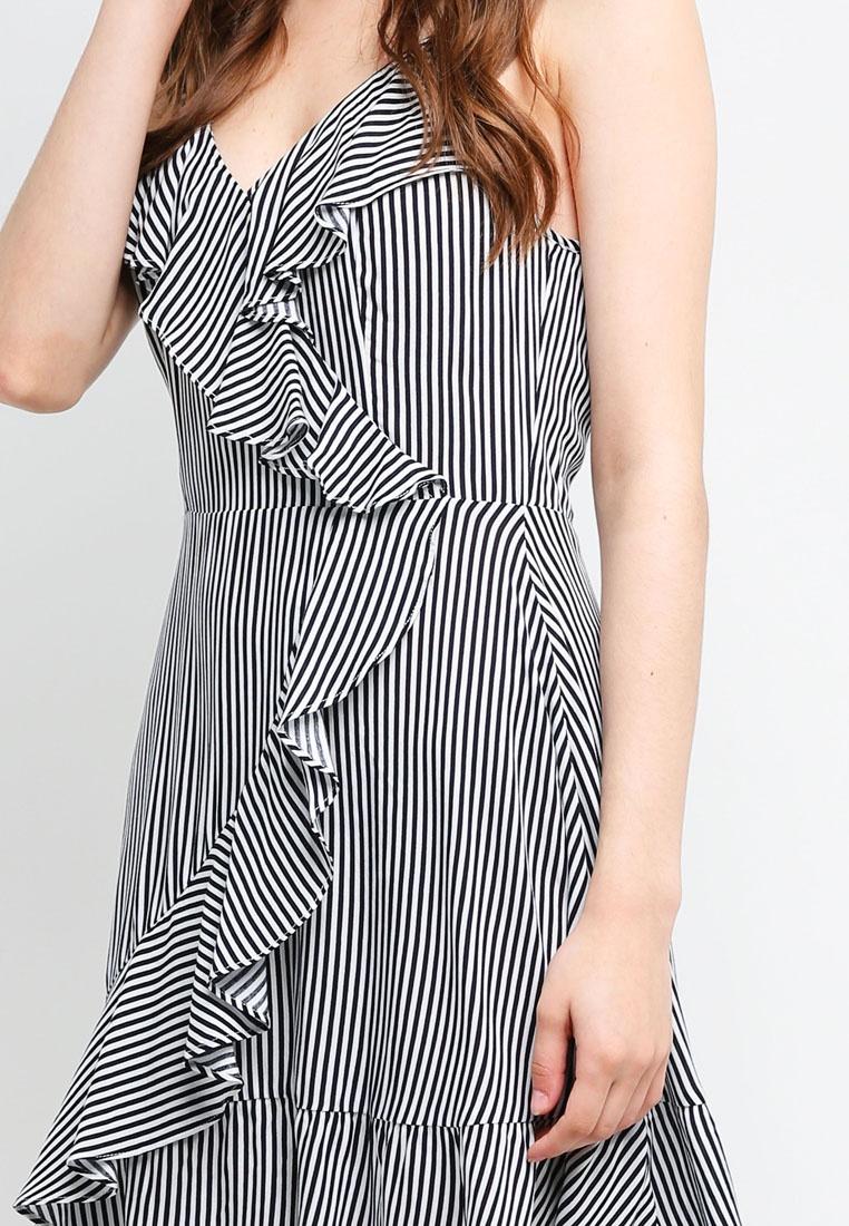 Dress Navy Wrap Stripes Borrowed With Something Ruffles Mini White vzxwTx