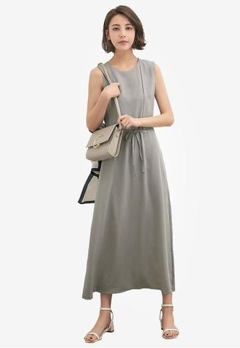 Kodz grey Plain Tie Waist Maxi Dress 71FE9AA4E8EE9AGS_1