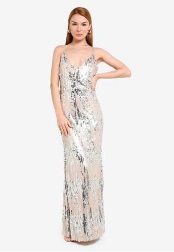 Goddiva gold 3D Sequin Strappy Maxi Dress 6F323AA59AD3D3GS_1
