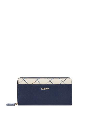 SEMBONIA blue Cream Stitch Leather Double Zip Around Wallet AEF36ACC0C7C34GS_1
