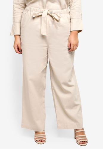 Ex'otico green Plus Size Linen Trousers 90718AA8611CCBGS_1