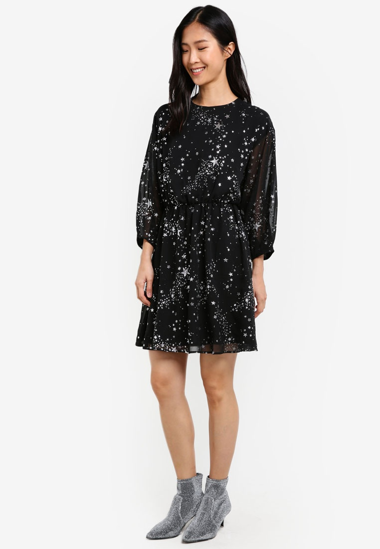WAREHOUSE Dress Star Black Pattern Sparkle wqOHEO