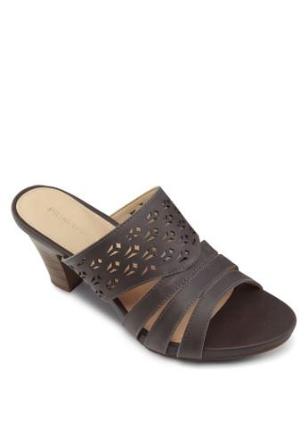 Reissa 雕花粗跟高跟涼鞋, 女鞋,esprit 折扣 中跟