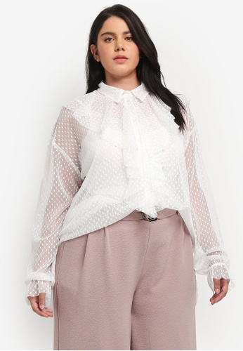 ELVI white Plus Size White Polka Dot Ruffle Top EL779AA0T1PVMY_1