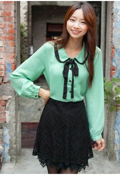 [IMPORTED] Doll Face Mini Lace Dress - Green