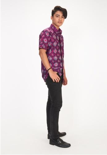 House Of Olsha 粉紅色 and 藍色 and 紫色 Cotton Batik Shirt - Molek Purple 29CC1AA6549A81GS_1