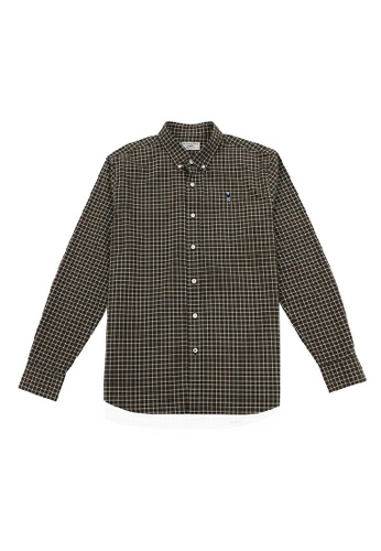 Giordano brown Men's Stretch Oxford Long Sleeve Shirt 7BAEEAA02C8E28GS_1