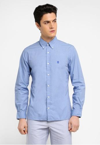 Brooks Brothers 藍色 休閒長袖圓點襯衫 FE976AA30B13A4GS_1