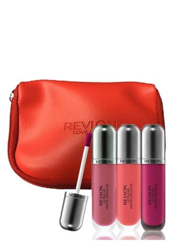 Revlon pink and purple Revlon Ultra HD Matte Lipcolor™ 3pc Best-seller Collection Free Pouch - Flirtation/ Addiction/Seduction 3* 6ml Ea RE737BE34CXDSG_1
