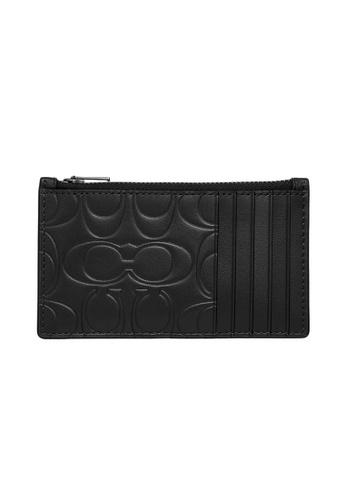 Coach black Coach Signature Leather Card Holder in Black 58B72AC35975B9GS_1