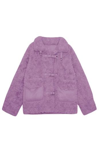 Twenty Eight Shoes purple VANSA Solid Color Lamb Wool Coat  VCW-C36088 74216AA63C3F48GS_1