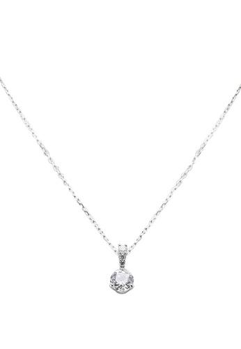 SWAROVSKI white and silver Solitaire Pendant Necklace C21E0AC0907BD1GS_1