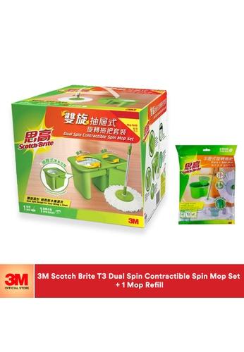 Scotch-Brite 3M Scotch Brite T3 Dual Spin Contractible Spin Mop +1pc Refill Value Pack 31F81ESBF976ADGS_1