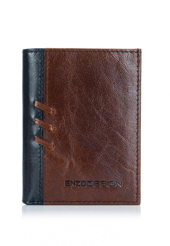 ENZODESIGN brown and multi and navy Buffalo Leather Vertical Mini Size Slim Cardholder Wallet 11D81ACF0514CBGS_1