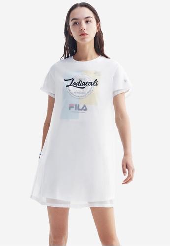 "FILA white ""ZODIACALI"" Mesh Layered Dress AB613AABCCE7F3GS_1"