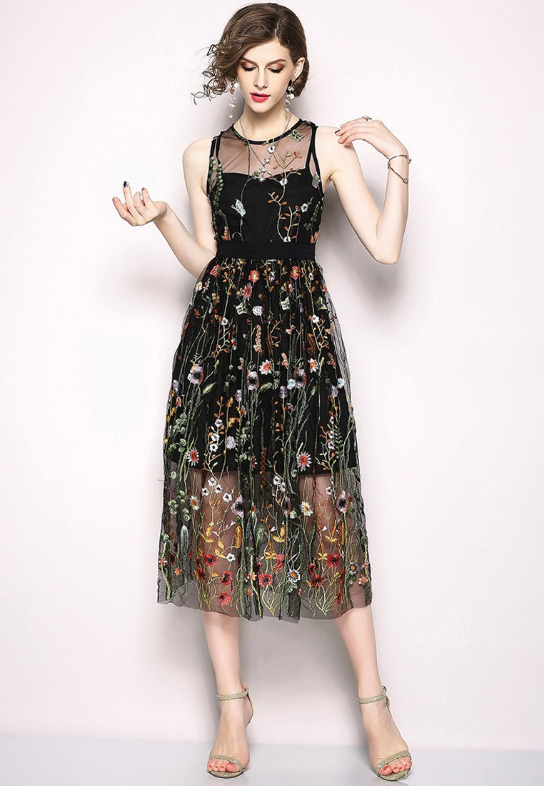 Patterned CA071865BK One Sunnydaysweety Floral Black Black New Dress 2018 Piece qZwAxatF