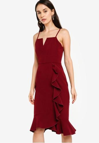 ZALORA red EVENING Notch Neckline Ruffle Hem Dress 42937AA0DC59C1GS_1