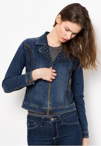 Denim Jacket Stretch with Zipper & Stud Variation