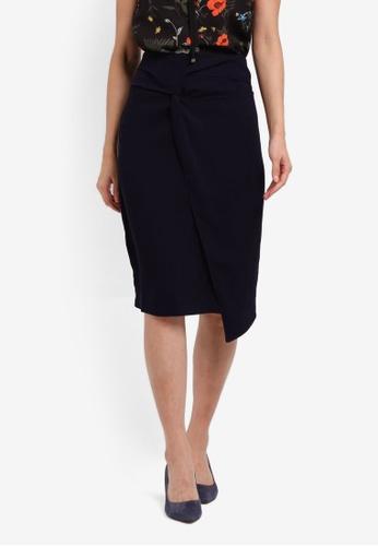 ZALORA navy Twist Detail Skirt 50029AA99529B8GS_1