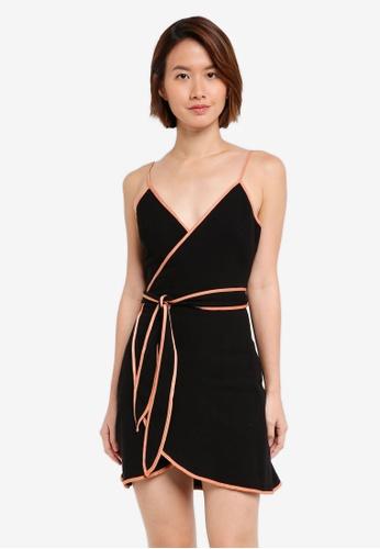 INDIKAH black Contrast Seam Wrap Mini Dress 2076EAAC5F9E13GS_1