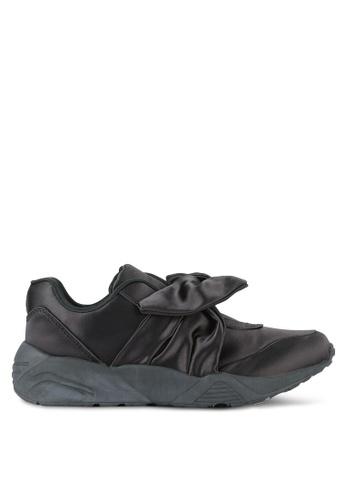 Something Borrowed black Bow Satin Sneakers BC498SHB25B09EGS_1