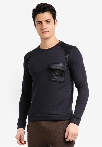 UniqTee 黑色 長袖拼接口袋棉T 71523AAD908C60GS_1