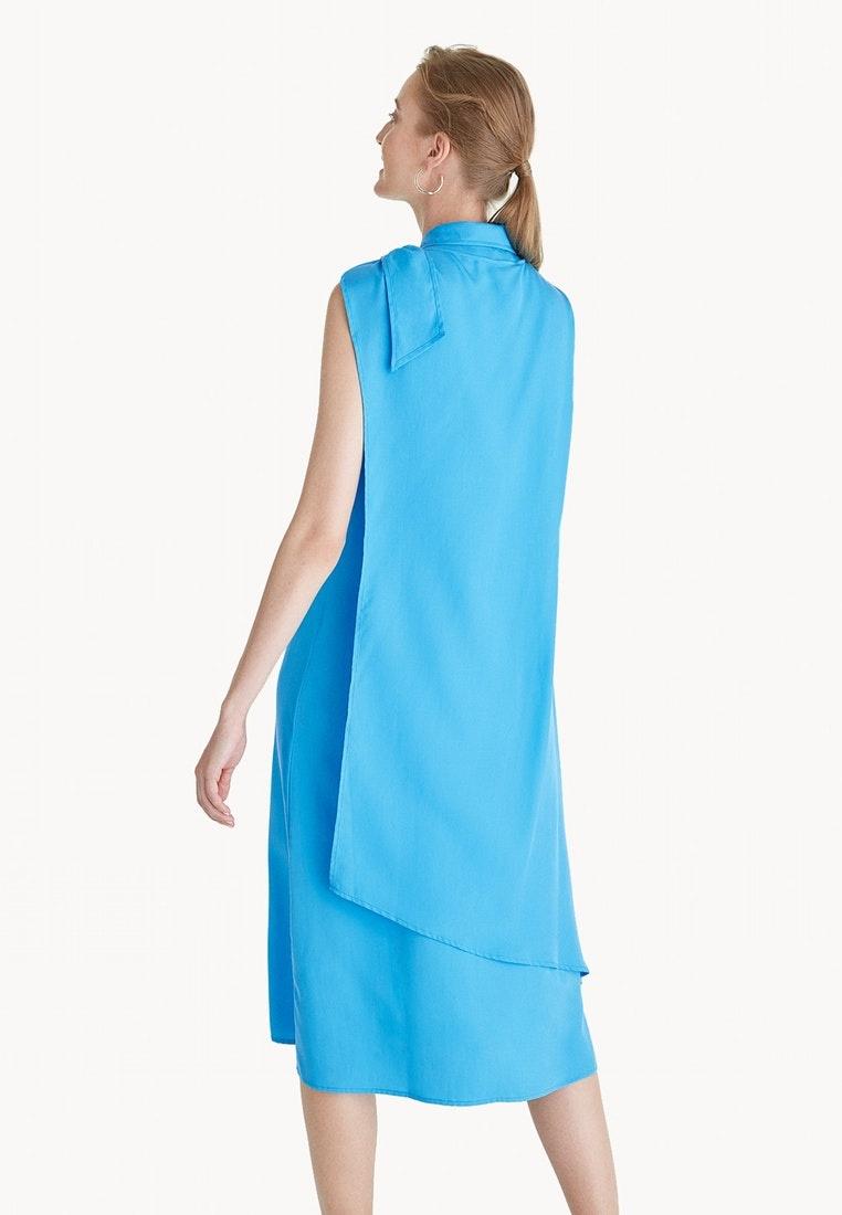 Blue Pomelo Bow Tencel Premium Shoulder Dress Blue xFZwxqUY