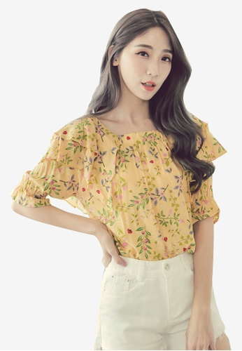 Eyescream yellow Floral Ruffles Top 92306AA2F0682BGS_1