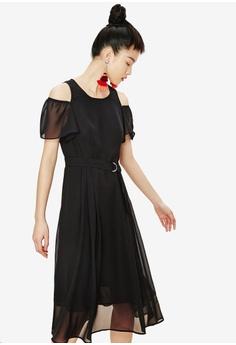 121bb71f8f1 Hopeshow black Cold Shoulder Ruffle Dress 2A72FAAC22C5E9GS_1