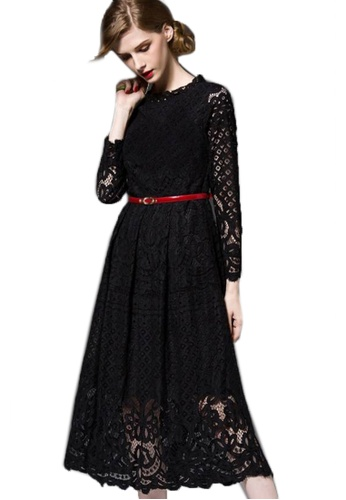 Sunnydaysweety black Super Sale  long-sleeved Lace One Piece Dress A101489BK 34711AA40309ACGS_1
