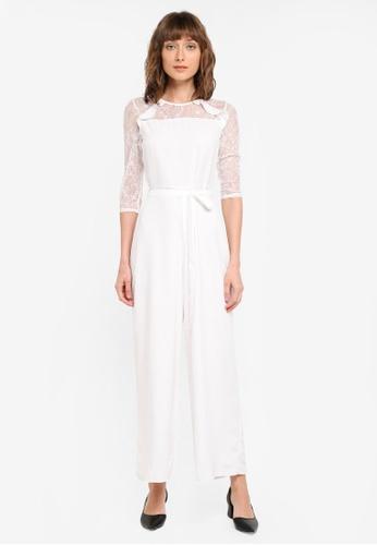 Dorothy Perkins white Petite Lace Yoke Jumpsuit DO816AA0ST1EMY_1