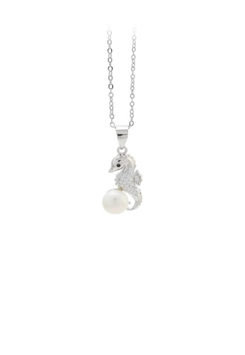 Glamorousky white 925 Sterling Silver Fashion and Elegant Seahorse Freshwater Pearl Pendant with Cubic Zirconia and Necklace C1273AC8994DA3GS_1