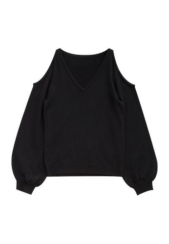 KLAPS black Cold Shoulder V-neck Top A5B6FAA5538ED7GS_1