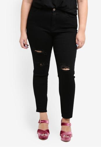LOST INK PLUS black Plus Size Skinny In Black With Rip Jeans 919AAAAF42776EGS_1