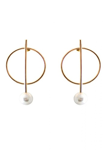 LOVENGIFTS gold Minimalism Circular Center Pearl Earrings C8A49AC89C89D4GS_1