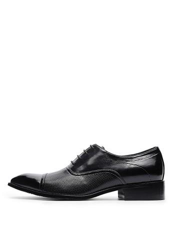 尊爵雅仕。頭層牛皮菱紋牛津zalora 衣服評價鞋-04693-黑色, 鞋, 皮鞋