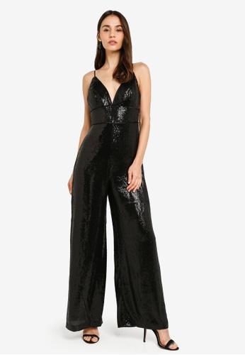 Forever New black Kara Sequin Jumpsuit E2D55AA21EBDCAGS_1