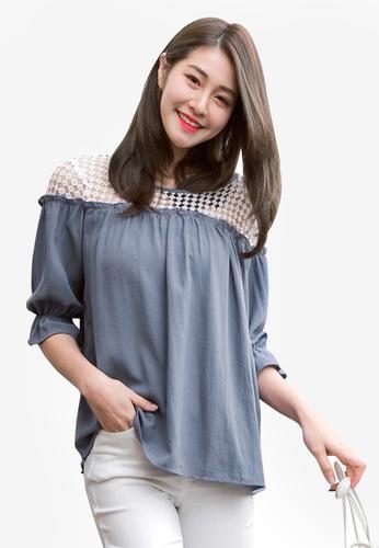 Tokichoi blue Lace Shoulder Blouse 3D1B5AA7826D7CGS_1