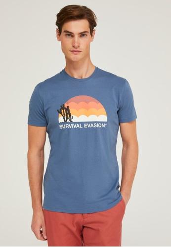 Sisley blue Printed T-shirt 66963AAFF91D1DGS_1
