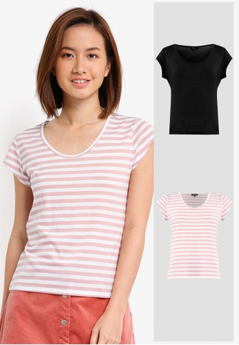 6b5395630c7b3 ZALORA BASICS black and pink and multi 2 Pack Essential Scoop Neck Tee  ZA511AA0V4ZLMY 1