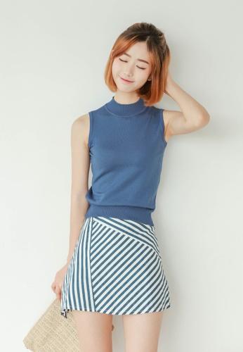 Shopsfashion white and blue Sleeveless Top and Skirt Set SH656AA92LRZSG_1