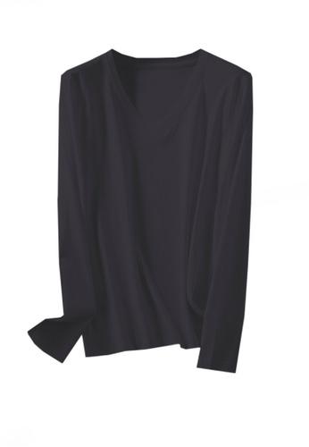 Twenty Eight Shoes black VANSA V-neck Mercerized Cotton Long-sleeved T-Shirt VCW-Ts0001V 3815CAA9F54B90GS_1