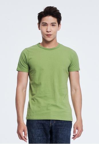 so that's me 綠色 簡單素面蜜桃棉圓領短袖男T C9602AAF5405D5GS_1