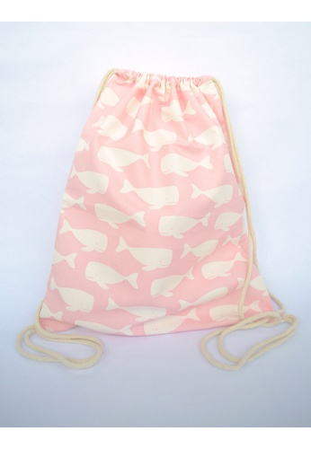 The Twinees white and pink Pink Swimming Whales Drawstring Bag TH572AC27PUYSG_1