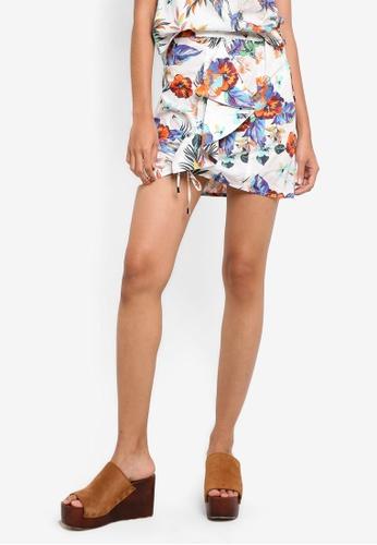 Mango white Printed Ruffle Skirt MA193AA87BZOMY_1