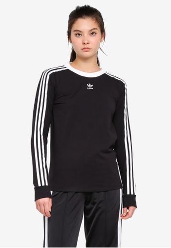 adidas black adidas originals 3 stripes long sleeve tee 21818AAEF87BA3GS_1