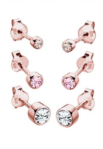 Elli Germany gold Perhiasan Wanita Perak Asli - Silver Anting Set Classic Crystal Rosegold Plated EL948AC10VJHID_1