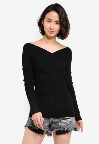 Cotton On black Romy Wrap Over Rib Pullover CO372AA31CUYMY_1