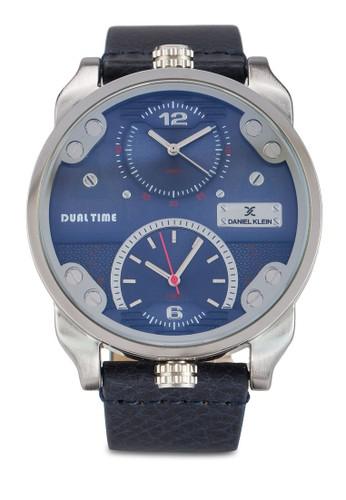 44mm DK11125-2 雙顯示皮革錶帶不銹鋼圓錶, zalora 手錶 評價錶類, 飾品配件