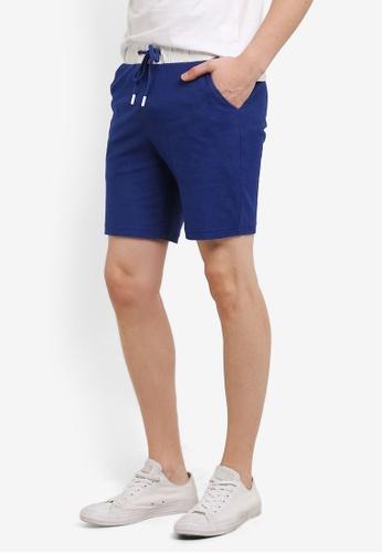 "ZALORA blue 7"" Textured Jersey Shorts With Contrast Waistband B187FAAF062D5CGS_1"